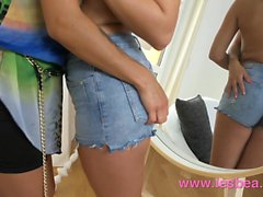Lesbea Young natural body lesbians face sitting