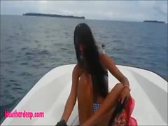 Heather deep go out on the boat and walk in the deep jungle gives a quick