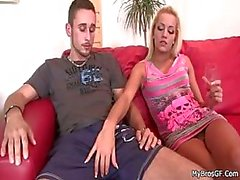 Horny blonde cheats with her BF's bro