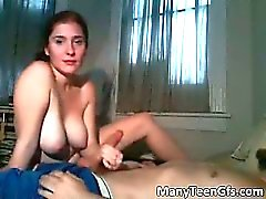 Hot brunette girlfriend blows hard dick