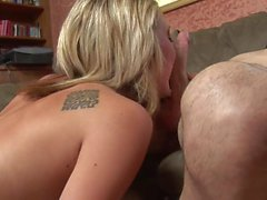 Blondie with an amazing ass gets pounded doggy style and creamed