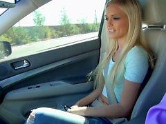 Joyful blonde spreading legs