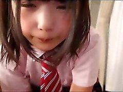 Cute Japanese Schoolgirl Sucks Mans Cum