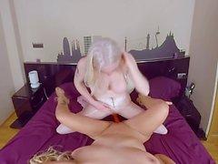 Mom and daughter sharing big cock on Virtual Taboo