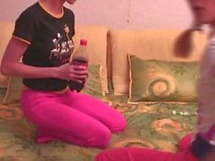 Cute Russian lezzies playing on the bed