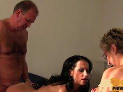 Old german men gets two girls