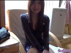 Asian teen solo rubbing