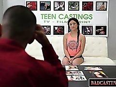 Sweet brunette teen shows off her body