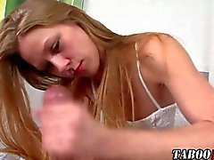 Pantyhose teen gives a helping hand