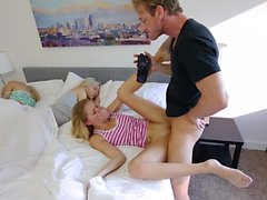 Horny dad fucks her step-daughter hard
