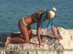 Petite blonde gets her bikini off outdoor