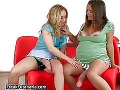 Pregnant brunette babe plays