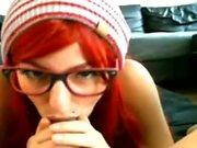 Redhead teen gives POV blowjob