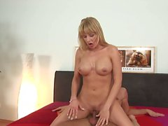 Blonde with bouncy tits rides cock reverse cowgirl