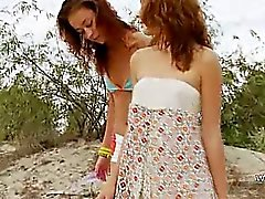Russian teens vibrating on the beach