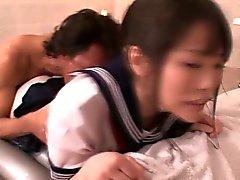 Asian cosplay babe as a sexy wam schoolgirl