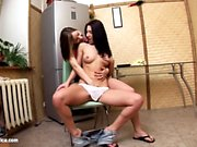 Young hotties Marriane and Ashlie fuck with a dildo on