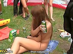 Horny friends fuck outdoors