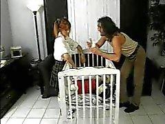 Men fuck the naughty babysitter slut