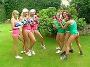 Lesbian teen orgy in the garden