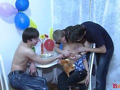 18 Videoz - Hot teeny takes a triple birthday present