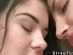 Busty lesbian teens loves strap on dildo