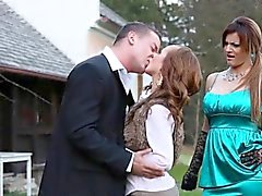 Outdoor pissing babes fucked in trio