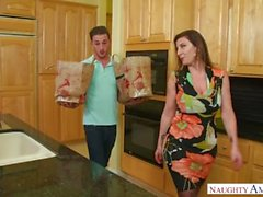 hot mom Sara Jay, young son, Stockings