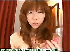 Serina Hayakaw innocent chinese girl is poking her hairy pussy with a dildo