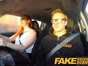 Fake Driving School Sexy redhead lusts after big cock