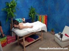 Brunette teen babe hidden cam massage room