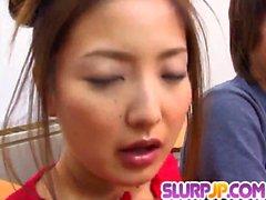 Katsumi Matsumura endures heavy cock to blast her snatch