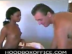 Ebony honey drilled by a white cock