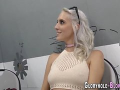 Blonde teen gobbles dicks