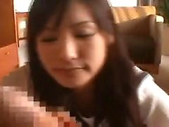 Seductive Asian teen sucks a long prick and gets drilled fr