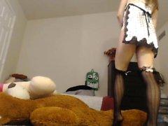 College teen brunette teasing in stockings