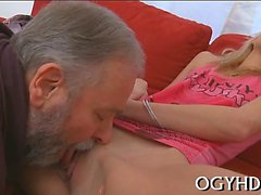 Young sweetie likes each inch of old 10-pounder in pussy
