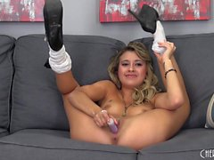 Pretty blonde teen in high heels Marina Angel gives it all to herself