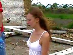 Two Russian girls and two guys outdoors