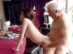 Old and young threesome Horny senior Bruce spots a adorable