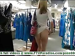 MaeLynn skinny young slut flashing tits ass and pussy in public and undressing in fitting room