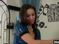 Nasty girl tries out a new dildo