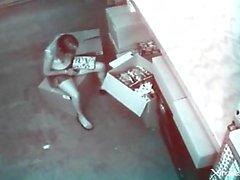 Teen masturbates to porn in a voyeur video