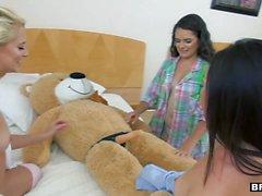 BFFS - Sexy Teens Practice With Stuffed Bear During Sleep Over