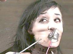 Tied up gagged bondage sub electric penalised