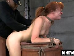 Redhead pornstar bdsm bondage and cumshot