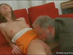 Slutty young babe drilled by old stud
