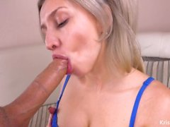 Perfect!!! No Hands Blowjob and Huge Load in Mouth - Kriss Kiss