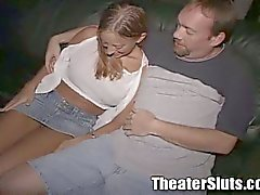 Filthy whore blows the entire theater. public sex