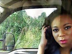 Sexy ebony chick fucked and cum facialed by horny stranger